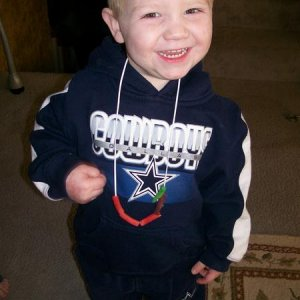 Dallas cowboys fan...just like his mama!