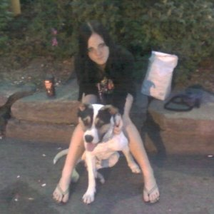 Stephanie (me) & Bishop -Purebred Red Nose Pitbull